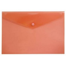 Папка конверт на кнопке А4 красная прозрачная Бюрократ PK803Ared