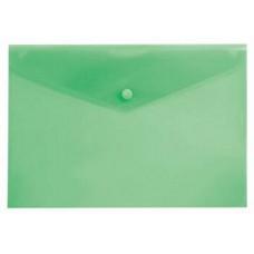 Папка конверт на кнопке А4 зеленая прозрачная Бюрократ PK803Agrn