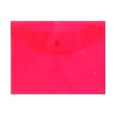 Папка конверт на кнопке В5 красная прозрачная Kanzfile В-5Ак