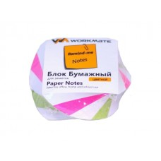 Блок бумажный цветной склеенный  80*80 мм 400л WM спираль 003006000