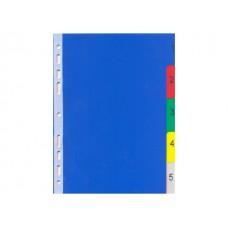 Разделитель А5 (1-5) пластик цветной DeVente 3051508