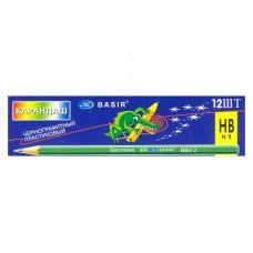 Карандаш HB пластик Basir Эластичный шестигранный без ластика МС-650