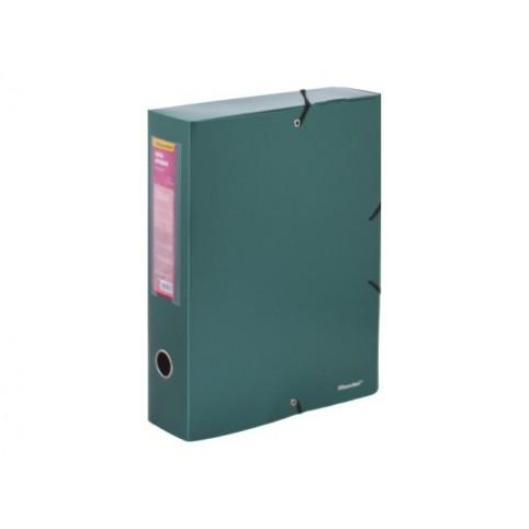Папка архивная пластик на резинке А4  7.5см зеленая металлик Perlen Silwerhof 311975-75