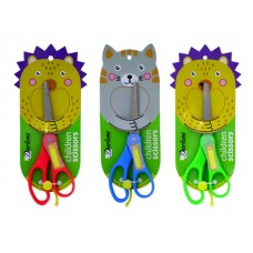 Ножницы детские 14 см с фиксатором пластиковые ручки Котик/Ежик DL-DRL00127-128