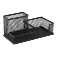 Подставка для ручек  3 отделения металл сетка черная DeVente 4104720