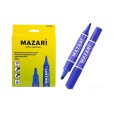 Маркер перманентный Mazari Duo синий 2-6мм двухсторонний М-5003