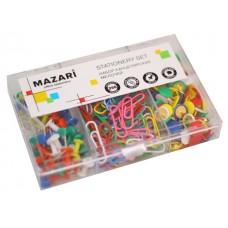 Скрепки + кнопки в наборе 250 шт. ассорти Mazari M-6876